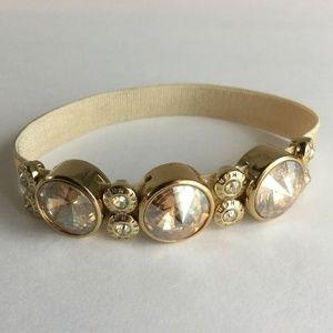 Henri Bendel Bracelet Gold Stretch Rhinestones